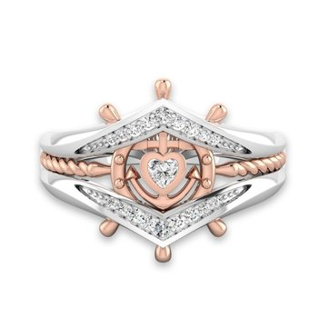 Women's Engagement Cubic Zirconia Stackable Ring Helm Heart Charm White Gold Rose Gold Finger Ring