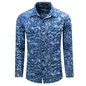 Fashion Mens Denim Cotton Floral Printing Shirts Casual Turndown Collar Long Sleeve Shirts