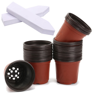 50Pcs 4 Inch Plastic Flower Nursery Seeding Pots & 50 Plant Labels Garden Hand Pot Tool