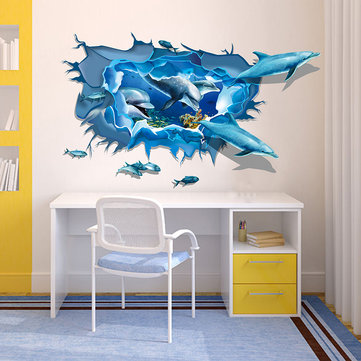 Miico Creative 3D Sea Dolphins Removable Home Room Decorative Wall Door Decor Sticker
