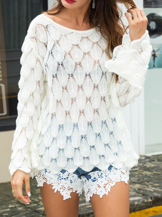 Casual Women Solid Color Round Neck Trumpet Sleeve Loose Hollow Feather Knit Sweaters