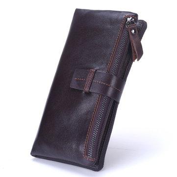 Men Genuine Leather Long Wallet Vintage Card Holder Wallet Coolest Wallet