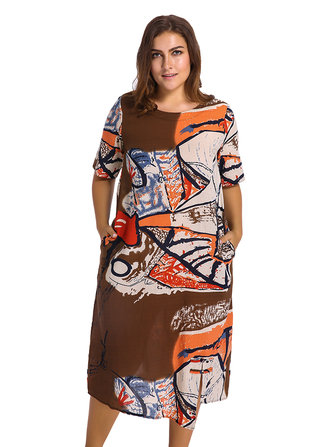 Casual O-neck Short Sleeves Abstract Printed Pockets Dresses