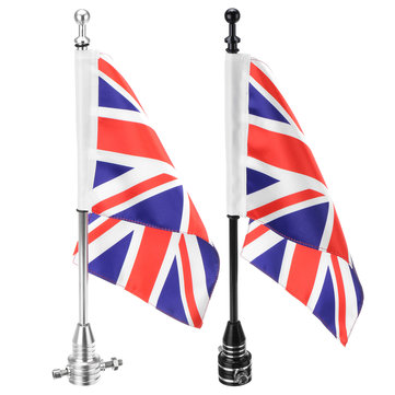 Motorcycle Rear Flag Pole & Stripes Luggage Uk Union King Mount For Harley Sports