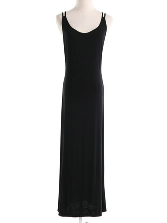 Women Black Sexy Sleeveless Spaghetti Strap Backless Maxi Dresses