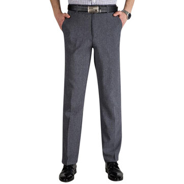 Men's Business Cotton High Rise Loose Dress Pants