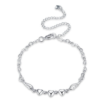 YUEYIN 925 Silver Plated Anklet Bracelet Sweet Heart Hollow Wings Best Love Gift Jewelry for Women