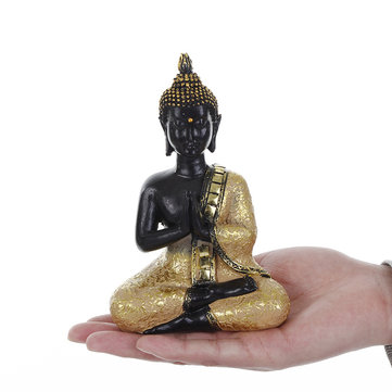 Resin Praying Thai Buddha Sitting Ornament Figure Statue Sculpture Meditatin Figurine