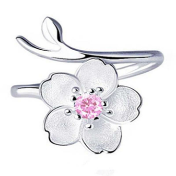 925 Sterling Silver Women Ring Purple Rhinestone Flower Charm Adjustable Open Ring for Women