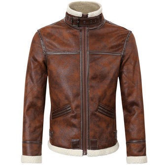 Mens Thick Fleece Casual Stand Collar Brown Motorcycle Jacket Fashion PU Leather Biker Coat