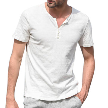 Knappar för män Knappar Dekoration V-Neck Casual T-shirts Pustande Solid Color Shorts Ärmlös T-shirts