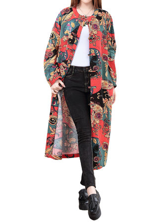 Vintage Women Chinese Frog Pattern Printed Trench Coat Jacket