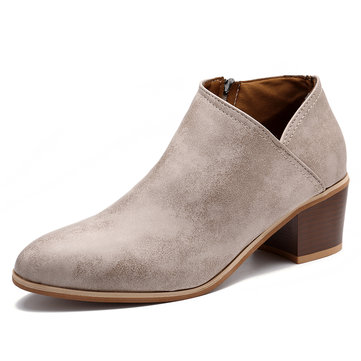 Roman Pure Color Zipper Casual Comfortable Ankle Boots