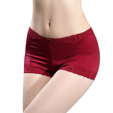 Women Lace Mid Waist Cotton Crotch Boyshorts Safety Shorts Comfy Briefs