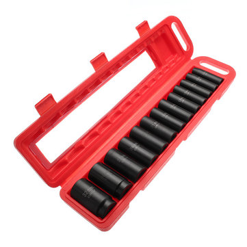 13pcs 10-32mm 1/2 Inch Drive Deep Impact Socket Set CR-V Metric Garage Wrench Tool