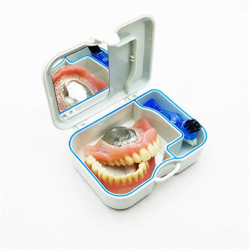 Mini Denture Retainer Box With Mirror Clening Brush Oral Care Kits