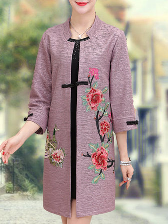 Elegant Women Flowers Embroidery Coats