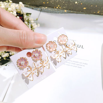 Silver 925 Luxury Women Earring Pink Blossoms Flower