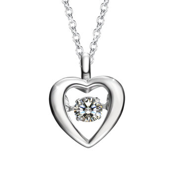 Sweet 925 Sterling Silver Zircon Heart Shape Pendant Necklace Valentine's Day Gift for Women