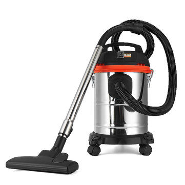 1200W 15L Stainless Steel Handheld Canister Vacuum Cleaner Wet & Dry Cleaning Home Machine