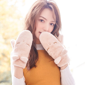 Women's Winter Faux Rabbit Fur Mittens Gloves