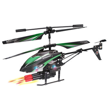 WLtoys V398 3.5CH Infrared Control RC Helicopter Launching Shooting Helicopter Toy