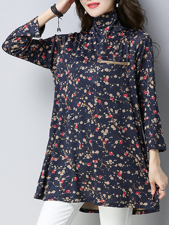 Floral Printed Long Sleeve High Collar Loose Women Blouses