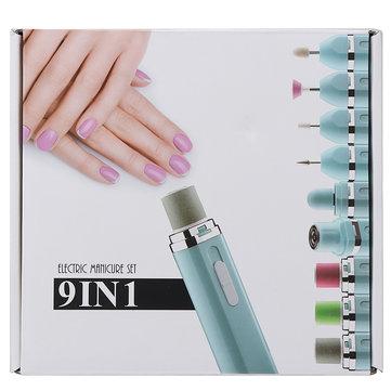 9 in 1 Manicure Tools Kit Drill Bits Grinder Sanding Shaver