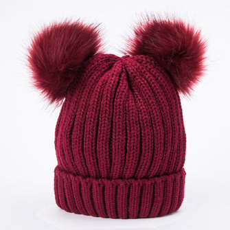 Women Outdoor Knitted Double Fur Pom Pom Beanie Cap