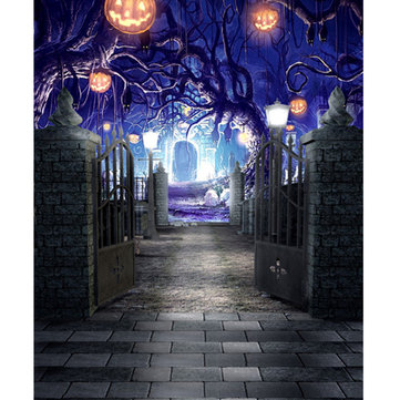 5x7ft Vinyl Halloween Pumpkin Grave Gate Photography Background Backdrop Studio Prop
