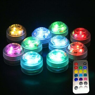 1X 10X Remote Control Submersible LED Candle Tea Light Waterproof RGB Under Water Lamp Decoration