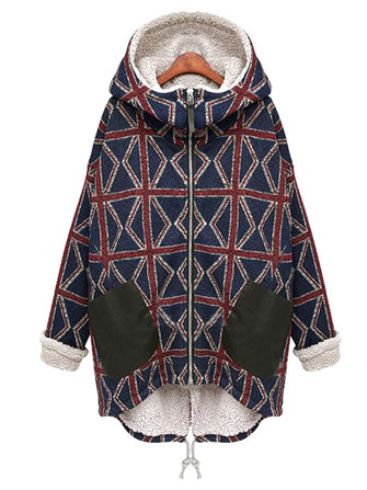 Plaid Plus Velvet Thicken Long Sleeve Hooded Women Coat