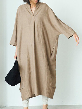 Plus Size Women Casual V-neck Long Sleeve Loose Dress