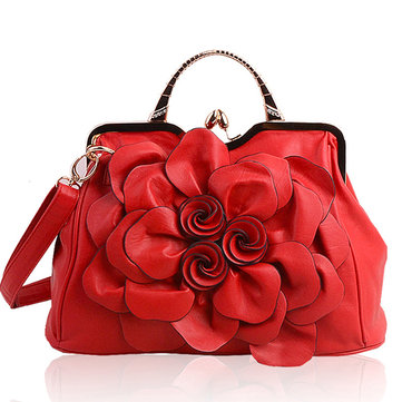 Brenice Women Elegant Handbag Rose Floral Fashion Cosmetic Bag