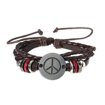 Retro Adjustable Leather Bracelet Peace Symbol Pattern Woven Bracelet for Men Women