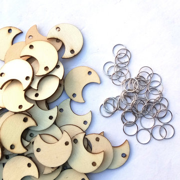50Pcs Moon Shape Laser Engraving Wooden Sheet With 50 Iron Loops Set For Birthday Reminder DIY Hanging Wood Plaque Decorations
