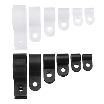 200pcs Black White Plastic R Type Cable Clip Clamp for Multi Diameter Wire Hose Tube