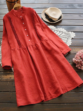 Plus Size Vintage Crew Neck Long Sleeve Button Pleated Shirt Dress