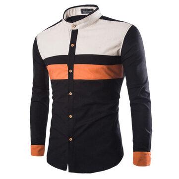 Mens Fashion Splice Stand Collar Slim Contrast Color Shirts