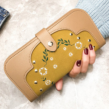 Women Dull Polish PU Leather Flower Pattern Long Wallet