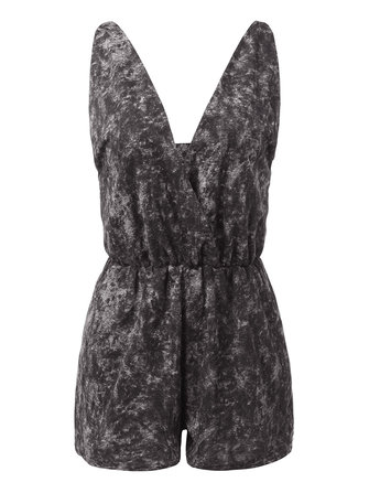 Sexy Women Deep V Neck Backless Strap Tie Dyed Jumpsuit Playsuit
