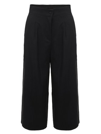 Black Casual Women High Waist Pocket Loose Wide Leg Pants