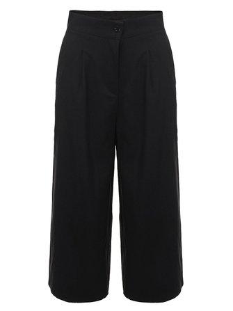 Mulheres casuais pretos bolso cintura alta soltas calças perna larga