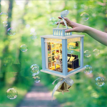 Hoomeda M023 Wind Chimes DIY Wood Dollhouse Miniature With LED Furniture Mini Doll House Room