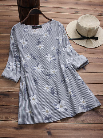 Cotton Floral Print Stripe O-neck Blouse