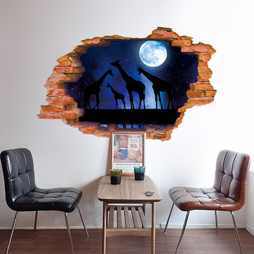 Miico Creative 3D Moon Night Giraffe Broken Wall Removable Home Room Decorative Wall Floor Decor Sticker