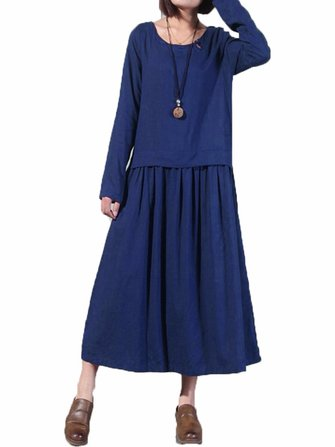 L-5XL Women Chinese Style Pleated A-line Dress
