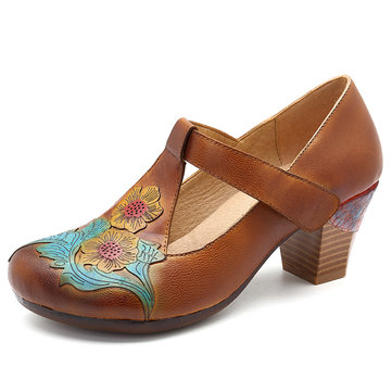 SOCOFY Vintage Pattern Round Toe Hook Loop Genuine Leather Pumps