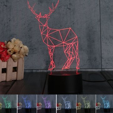 3D Deer Illusion LED Table Desk Light USB 7 Color Changing Night Lamp Home Decor