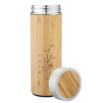 450ml Double Wall Stainless Steel Water Cup Bamboo Pattern Tea Infuser Thermos Flask Bottle